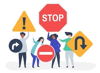 Illustrazione di carattere di persone con le icone del segnale stradale