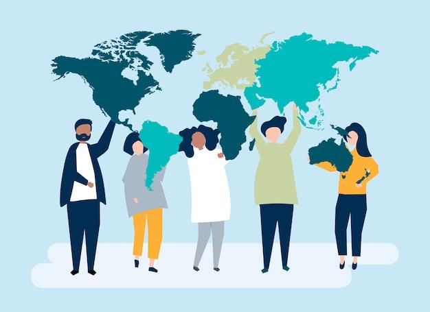 Illustrazione di carattere di persone diverse e il mondo