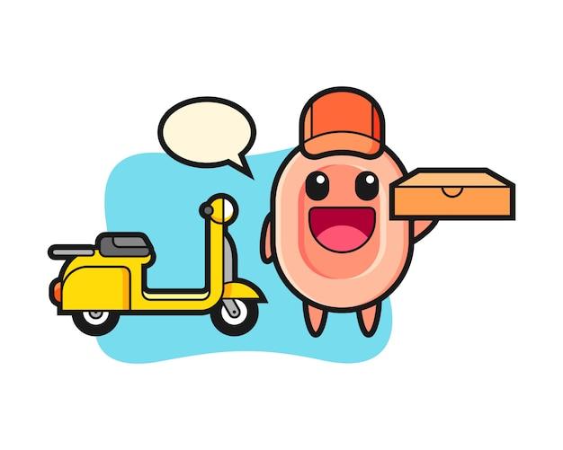 Illustrazione di carattere di sapone come fattorino di pizza, stile carino per t-shirt, adesivo, elemento logo