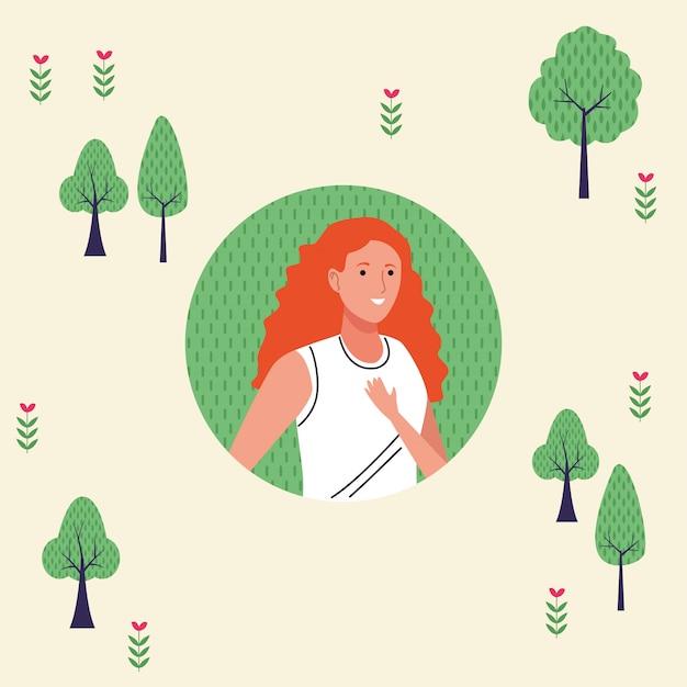 Illustrazione di carattere felice giovane donna turistica