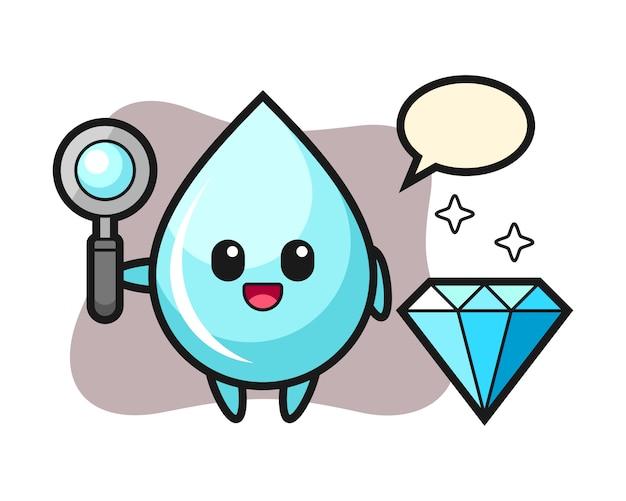 Illustrazione di carattere goccia d'acqua con un diamante, design in stile carino per t-shirt