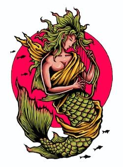 Illustrazione di carattere sirena