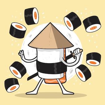 Illustrazione di carattere sushi samurai