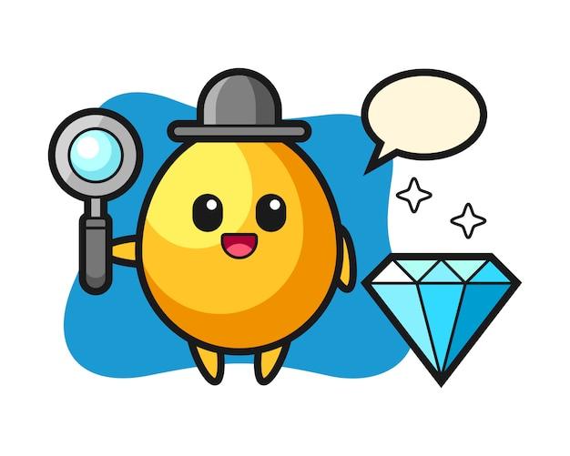 Illustrazione di carattere uovo d'oro con un diamante, design in stile carino
