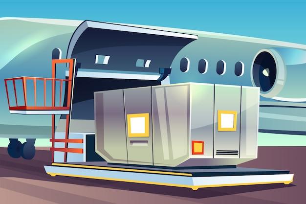 Illustrazione di caricamento del trasporto dell'aeroplano di logistica del carico aereo.