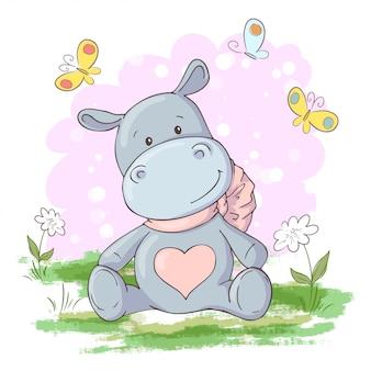 Illustrazione di carino, ippopotamo fiori e farfalle in stile cartone animato. vettore