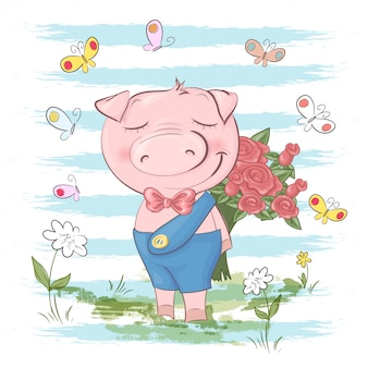 Illustrazione di carino maiale fiori e farfalle. stile cartone animato