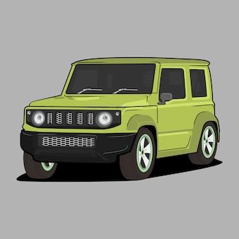 Illustrazione di cartone animato auto, suzuki jimny classica auto retrò vintage
