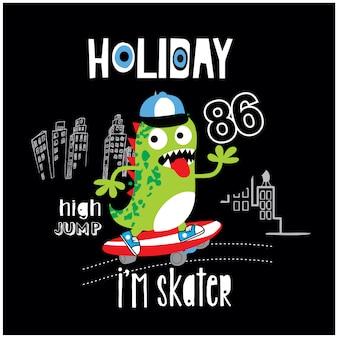Illustrazione di cartone animato carino mostro di skate