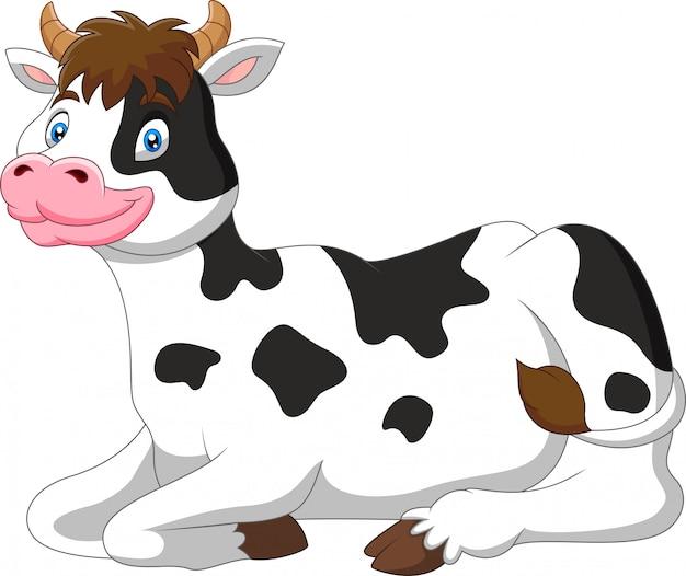 Illustrazione di cartone animato carino mucca