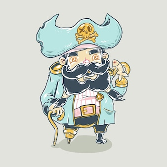 Illustrazione di cartone animato carino pirata