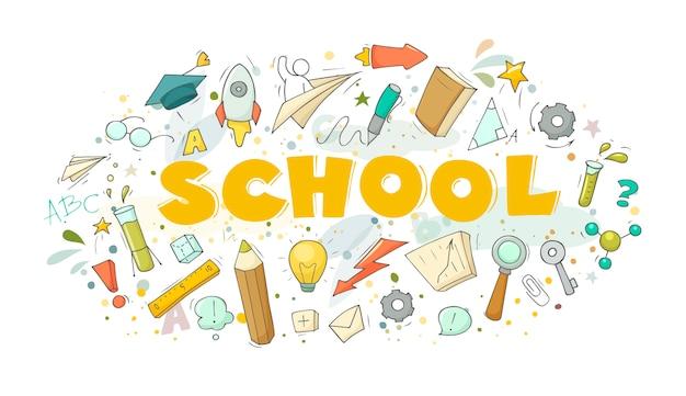 Illustrazione di cartone animato con la parola scuola.