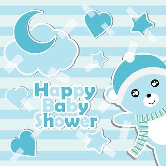 Illustrazione di cartone animato con ragazzo carino orso bambino su sfondo a righe adatto per la progettazione di carta di invito doccia per neonati, cartolina e carta da parati