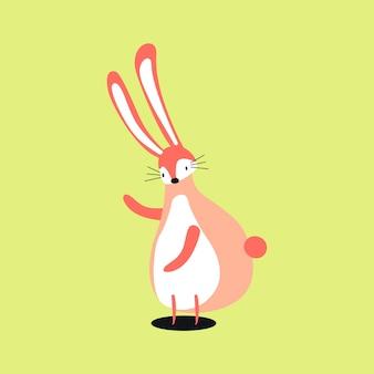 Illustrazione di cartone animato coniglio rosa carino