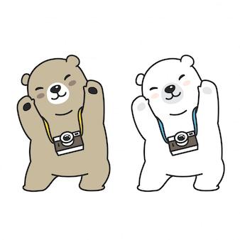 Illustrazione di cartone animato di macchina fotografica polare di orso vettoriale
