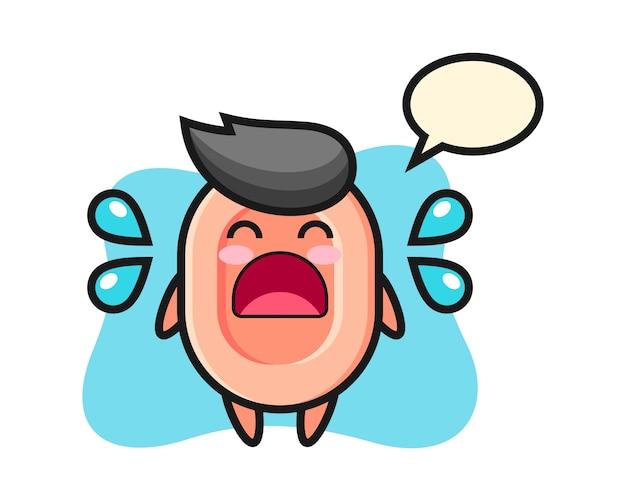 Illustrazione di cartone animato di sapone con gesto di pianto, stile carino per t-shirt, adesivo, elemento logo