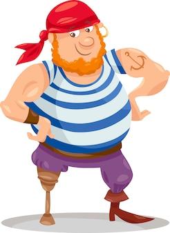 Illustrazione di cartone animato divertente pirata