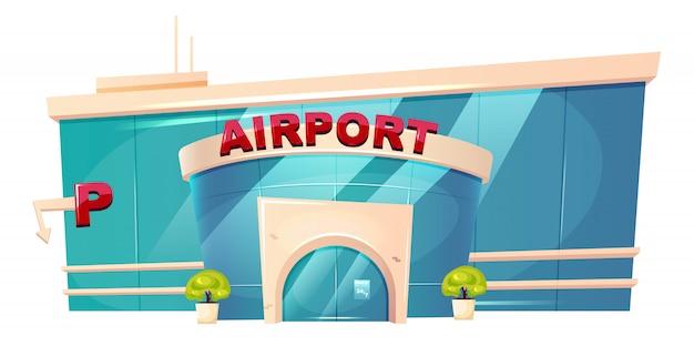 Illustrazione di cartone animato esterno aeroporto. oggetto colore piatto ingresso terminale aerodromo. posto per la partenza del volo. stazione di trasporto. edificio urbano di vetro isolato su sfondo bianco