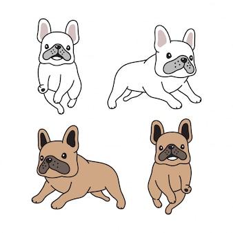 Illustrazione di cartone animato in esecuzione bulldog francese cane