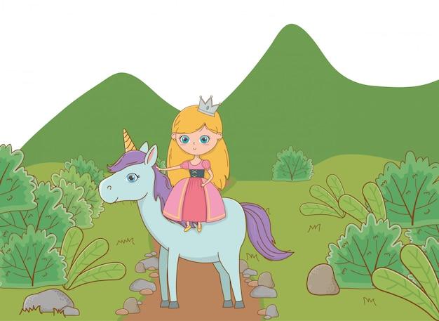 Illustrazione di cartone animato principessa medievale