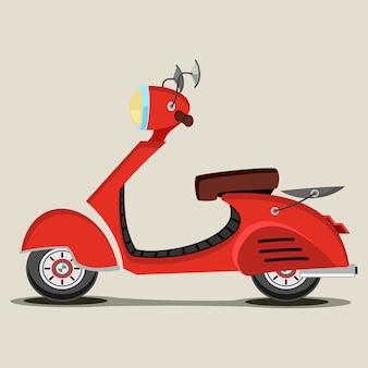 Illustrazione di cartone animato retrò scooter