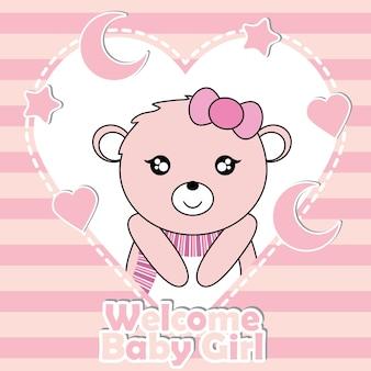 Illustrazione di cartone animato vettoriale con cute baby bear girl su stelle e la luna frame adatto per baby doccia invito design carta, cartolina e carta da parati