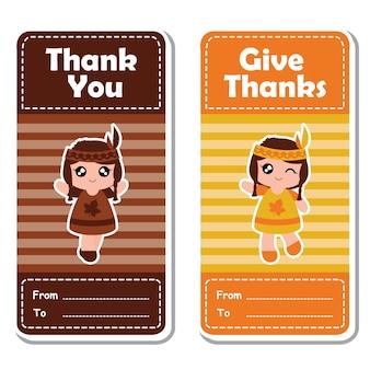 Illustrazione di cartone animato vettoriale con le ragazze indiane cute su sfondo a righe adatto per il design felice di etichetta di giorno del ringraziamento, set di banner e carta di invito