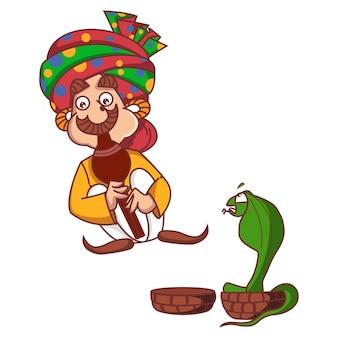 Illustrazione di cartone animato vettoriale incantatore di serpenti che suona il flauto al cobra.