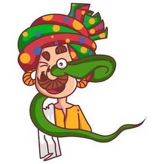 Illustrazione di cartone animato vettoriale incantatore di serpenti che viene mangiato dal serpente cobra.