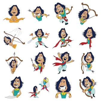 Illustrazione di cartoon arjuna set
