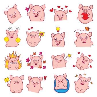 Illustrazione di cartoon cute pig set