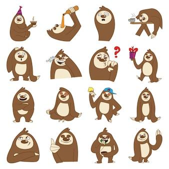 Illustrazione di cartoon sloth set