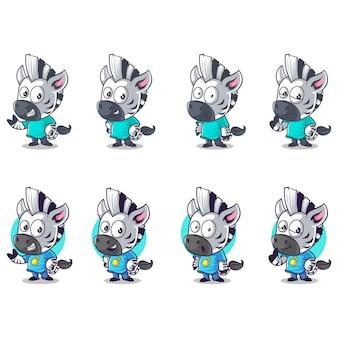 Illustrazione di cartoon zebra set
