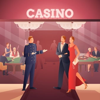 Illustrazione di casinò e persone