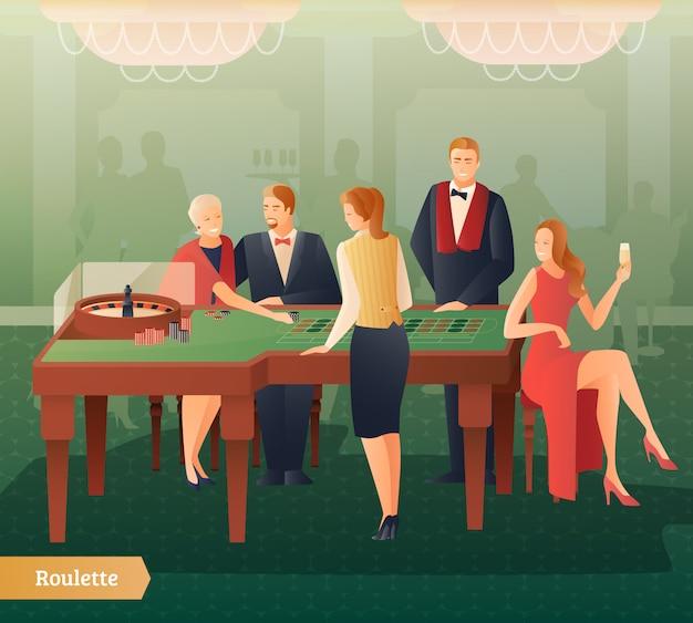 Illustrazione di casinò e roulette