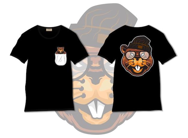 Illustrazione di castoro con design t-shirt, disegnato a mano