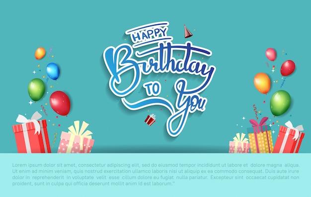 Illustrazione di celebrazione del manifesto di buon compleanno con il modello di compleanno