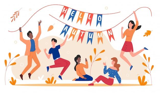 Illustrazione di celebrazione dell'autunno. cartoon uomo donna giovani personaggi eccitati che tengono le bandiere con ciao testo autunnale, amici felici che celebrano l'inizio della stagione autunnale su bianco