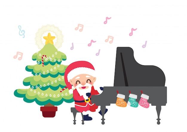 Illustrazione di celebrazione di natale santa pianista