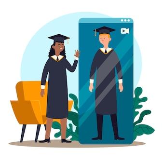 Illustrazione di cerimonia di laurea virtuale