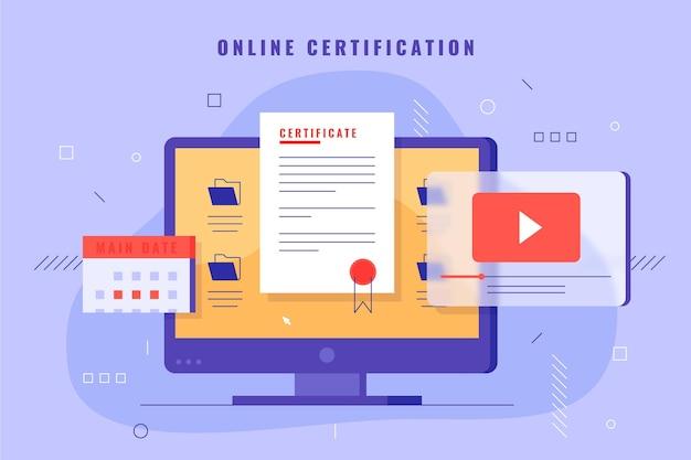 Illustrazione di certificazione online con il computer