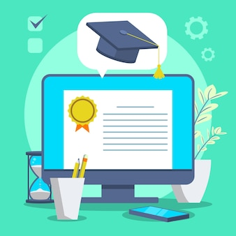 Illustrazione di certificazione online