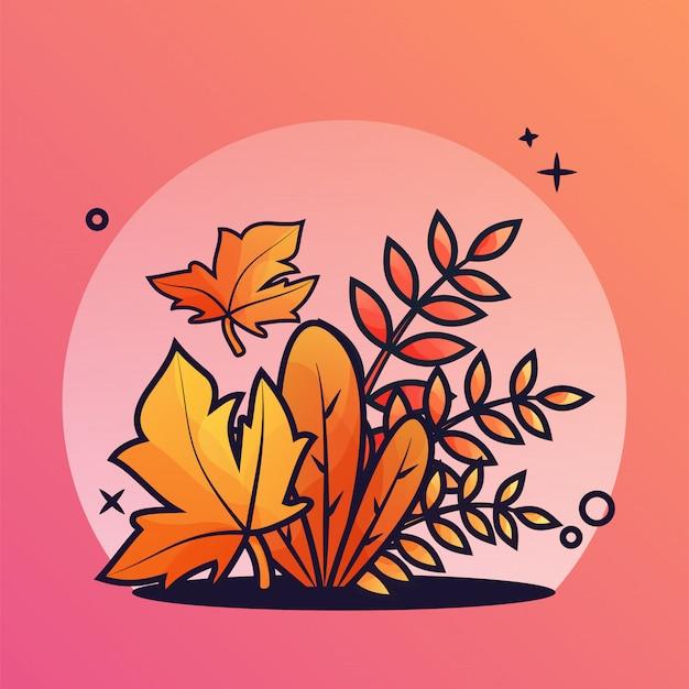 Illustrazione di cespuglio d'autunno