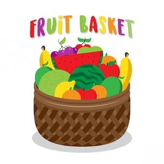 Illustrazione di cesto di frutta vibrante
