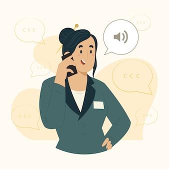 Illustrazione di chiamata di concetto della donna di affari