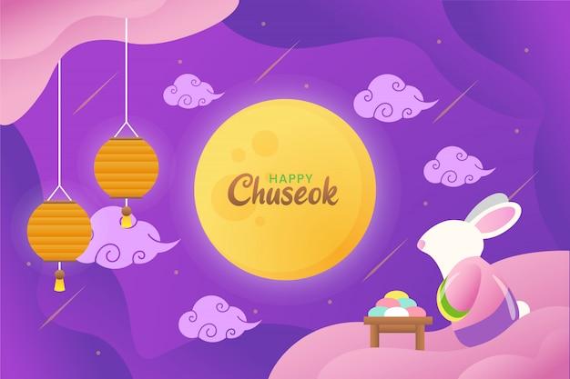 Illustrazione di chuseok felice con coniglio sveglio che fissa alla luna con le lanterne e la torta
