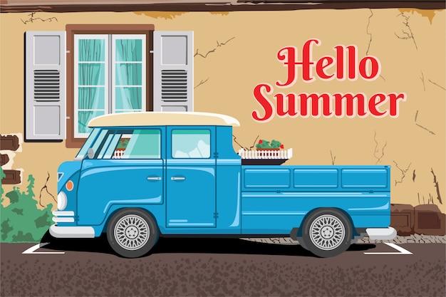 Illustrazione di ciao estate con i camion e le pareti del fondo della costruzione