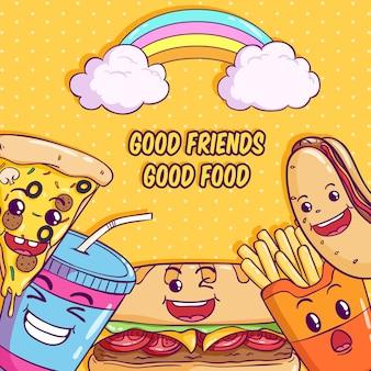 Illustrazione di cibo carino con kawaii o faccia buffa su giallo