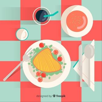 Illustrazione di cibo vista dall'alto