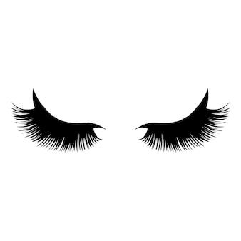 Illustrazione di ciglia lunghe nere.